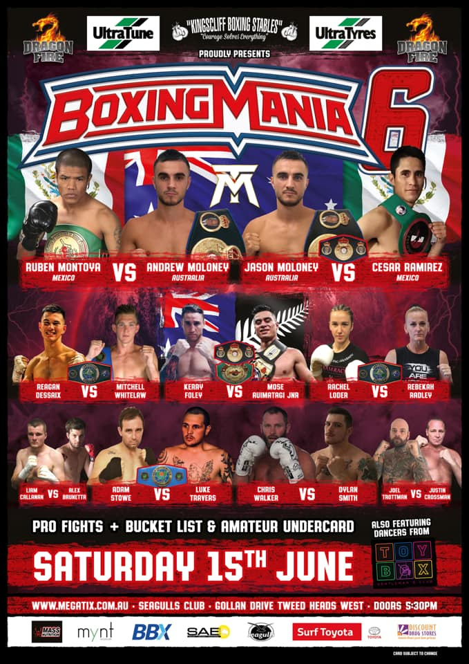 Great Card and WBA Oceania Title Defenses on June 15.